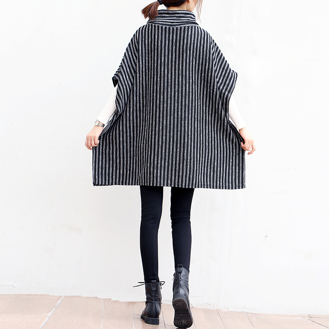 P Ammy Lagenlook Batwing sleeve Big pocket Striped knitted Sweater Poncho  Lady Turtleneck Fall Winter Loose knitted cotton Tops 3