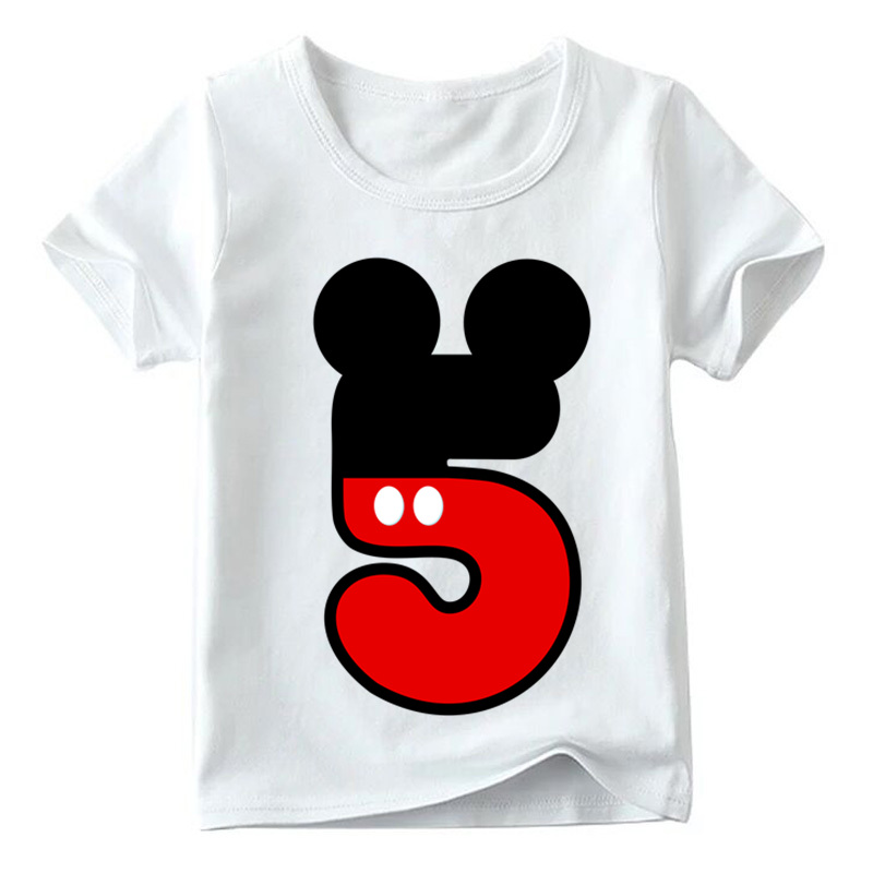 Baby Boys/Girls Happy Birthday Letter Bow Cute Print Clothes Children Funny T shirt,Kids Number 1-9 Birthday Present,HKP2416 29