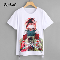 ROMWE Figure Print Pearl Embellished White T Shirt Women Short Sleeve Summer Tops 2018 Fashion New