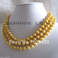 Free Shipping >>>>>50 7 9mm Golden Freshwater Pearl Necklace Jewelry Strand