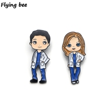 Flyingbee Grey's Anatomy Brooch Cartoon Enamel Pins For Backpack badge Personality Hat Pin Doctors Pin Gifts Charm Jewelry X0160