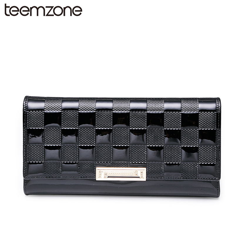 Fashion Women Hasp Zipper Genuine Leather Trifold  Style Wallet Credit Card Holder Cash Receipt Holder ID Window Coin Purse Q451 casual weaving design card holder handbag hasp wallet for women