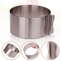 Retractable Circle Mousse Ring Mould Baking Tools Set Stainless Steel Cake Mold Size Adjustable Bakeware Free Shipping