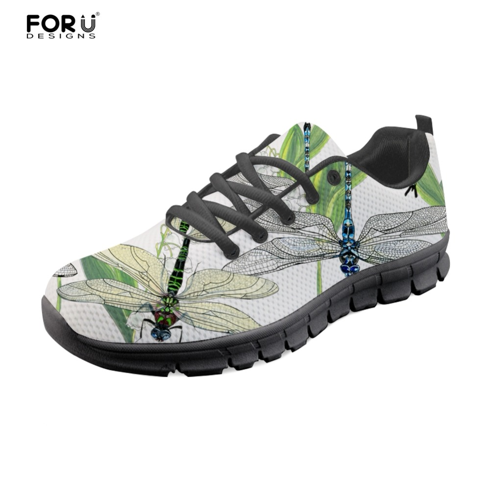 FORUDESIGNS Lovely Dragonfly Brand Designer Sneakers Women Casual Flats Shoes Woman Summer Fashion Girls Comfortable Walks Shoes