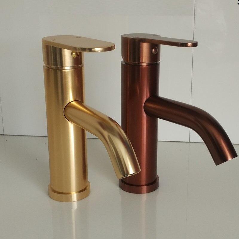 Subiu Banheiro ouro torneira do banheiro lavatório torneira de ouro torneira da bacia de alumínio Espaço quente e fria Torneira misturadora Torneira Cozinha Guindaste