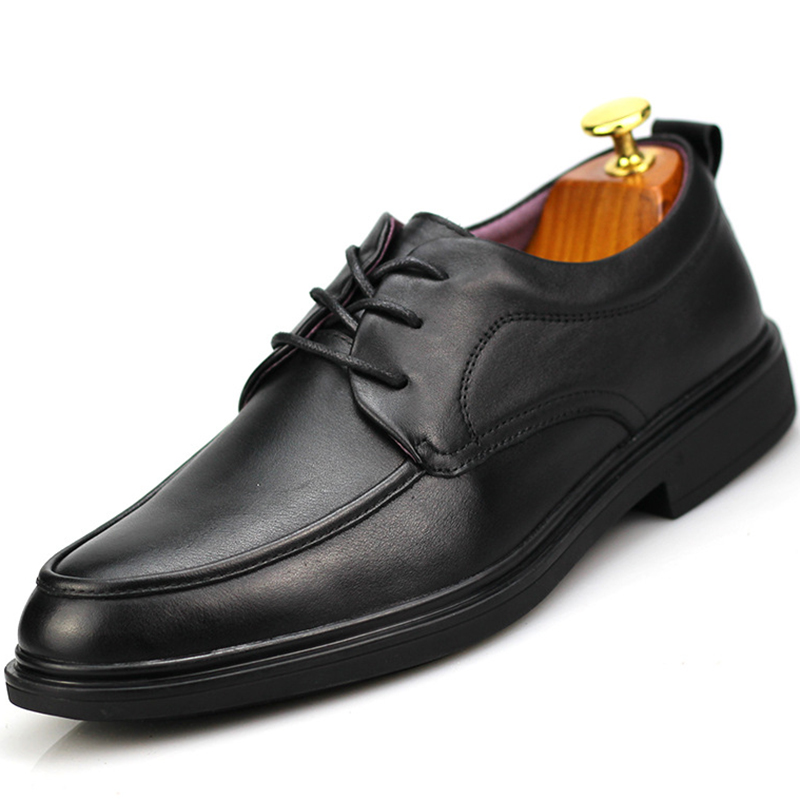 Monstceler Brand Men Business Dress Shoes Black Geunie Leather Soft Bottom Wedding Shoes for Men Pointed Formal Shoes