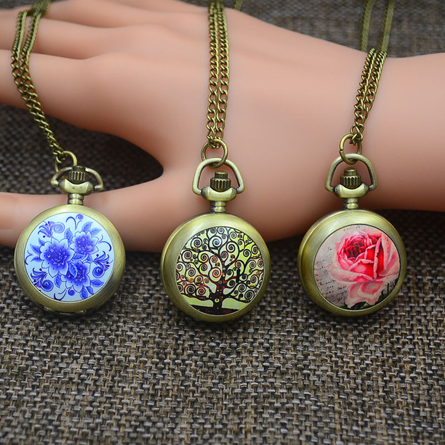 Fashion Quartz Pocket Watches Necklace Pendant Women Rose Fob Watch Bronze Colorful Tree Flower Picture Antique Long Chain 2017