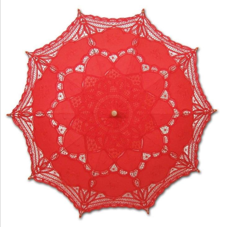 Free Shipping Lace Sun Umbrella Cotton Embroidery  Lace Parasol Wedding Umbrella Decorations Multi Color