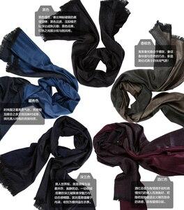 Image 2 - Роскошный брендовый кашемировый шарф для мужчин, модные зимние шарфы с кисточками в британском стиле, теплые зимние шарфы, шаль из пашмины, 2019