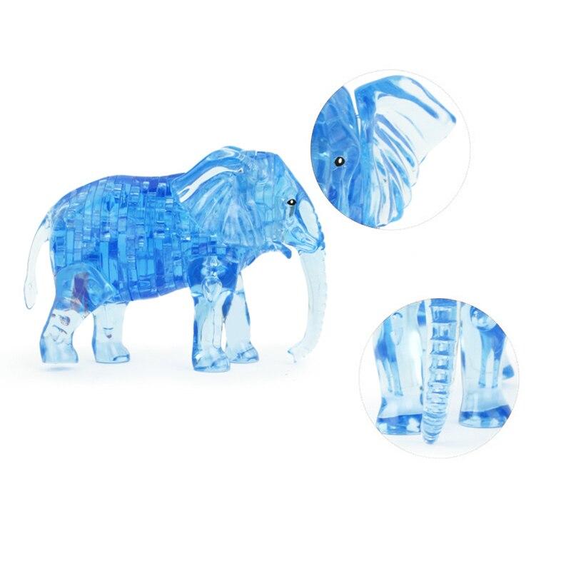 Nueva 3D Crystal elefante forma de construcción cristal rompecabezas ...