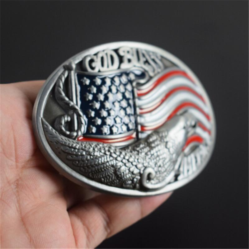 belt buckle 9.2cm USA flag GOD BLESS pattern metal pin buckles fashion trousers / pants Diy belts Christmas gift