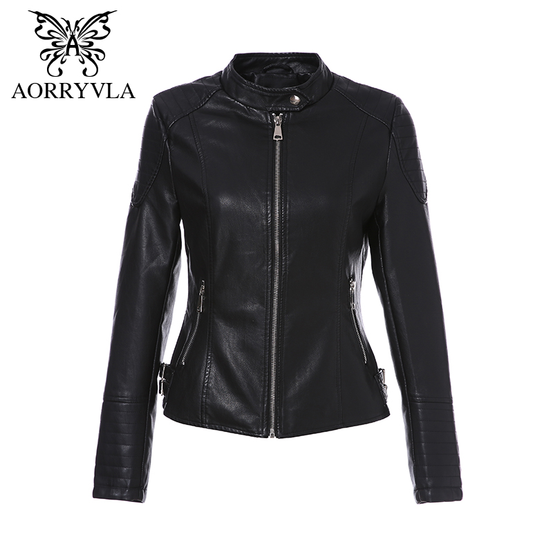 AORRYVLA 2018 New Fashion   Leather   Jacket Women Autumn Short Motorcycle Zippers Biker Coats Black Ladies Basic Jackets Hot Sale