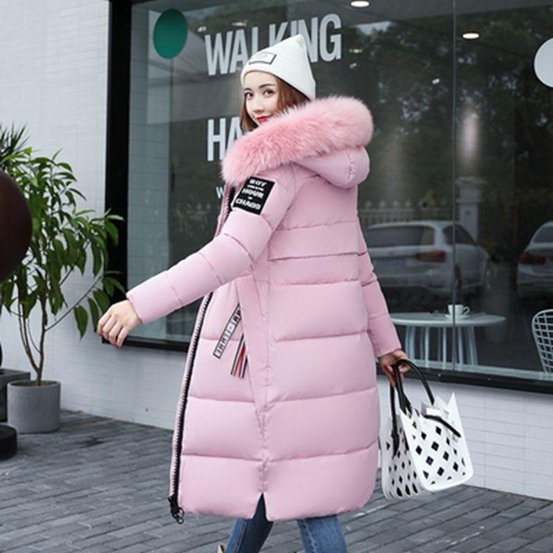Brieuces Winter Coat Jacket Warm   Parkas   Female Outerwear Coat Fur Collar Cotton Jacket 2018 New Red Long Winter Jacket Women