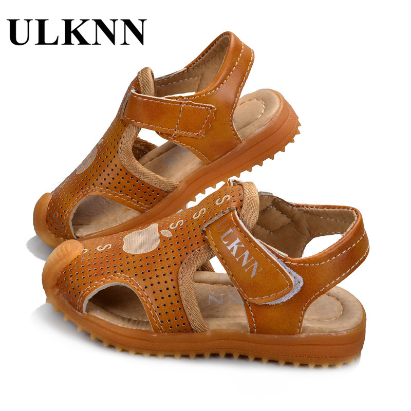 ULKNN Shoes For Children Soft Leather Kids Sandals Baby Beach Sandals Closed Toe Toddler Boys Shoes 2018 Fashion Sport Shoes