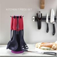 7 Pcs Kitchenware Set Kitchen Utensil Non stick Heat resisting Nylon Cooking Tool Sets With Rotating Organizing Stand