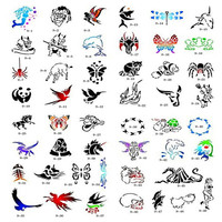 High Quality Book 9 100 Designs Airbrush Tattoo Stencil Book For Temporary Spray Body Art Paint
