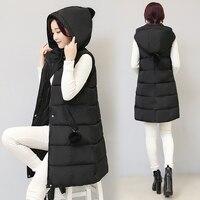 Winter vest women's new fashion vest Slim casual zipper vest hooded cotton warm fur ball jacket vest ladies coat size M XXXL