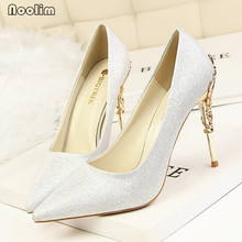 Woman Elegant High Heels Shoes Fashion Women Pumps Wedding Shoes Red Bling Gold Party Women Heel Shoes