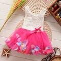 Crianças Meninas Princesa Flor Rosa Pétalas de Fluxo Lace Ruffled Tulle Vestidos 6M-4Y