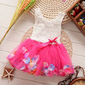 Kids Girls Princess Rose Flower Flow Petals Lace Ruffled Tulle Dresses 6M-4Y