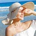 Лето женская Складная Широкий Большой Брим Beach Sun Hat Visor Cap Женский Пляжный Курорт С Мода Шляпа Солнца Уф защиты