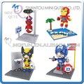 Mini Qute HSANHE 4 estilos 3D Spiderman Marvel Avenger figuras Escena diamante regalo de bloques de construcción de plástico juguetes educativos