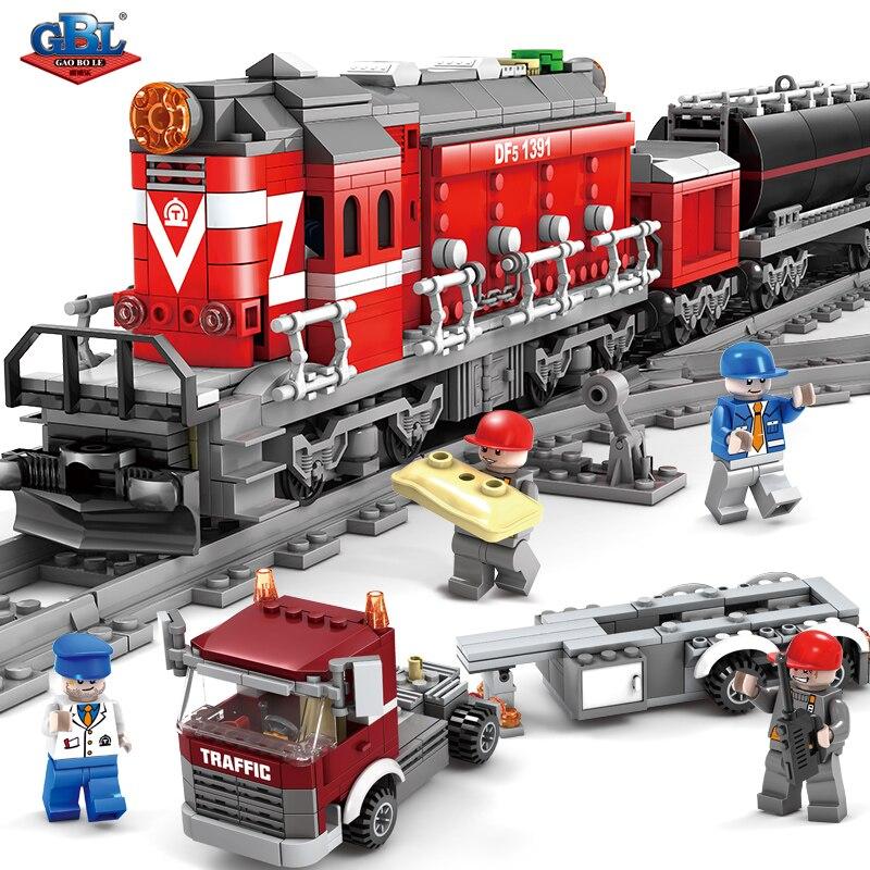 Ensembles de blocs de construction de Rail de voie de Train Diesel à entraînement électrique GBL City Moc briques enfants modèle classique jouets Legoings compatibles