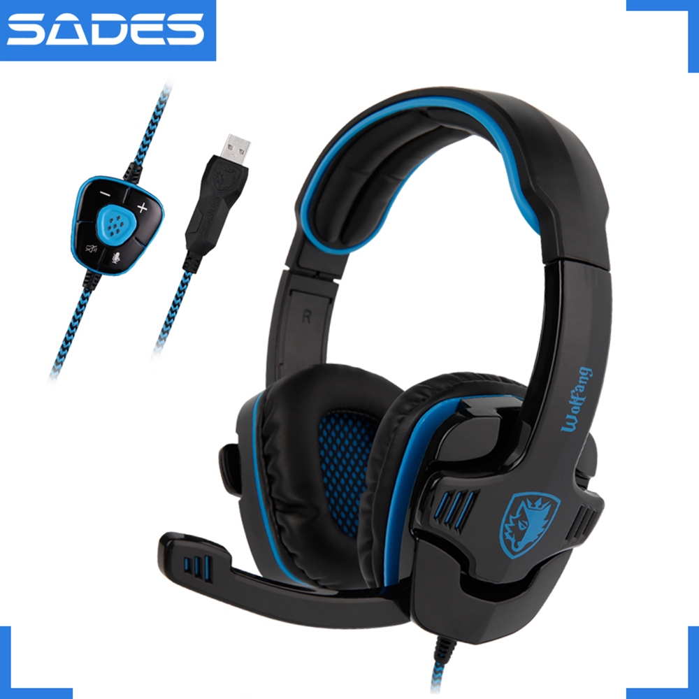 SADES WOLFANG Virtual 7.1 Surround Sound Headset USB Drive-by-Wire Headband headphones for Gamer sades wolfang virtual 7 1 surround sound headphones rotatable microphone headband headphone headset for video game