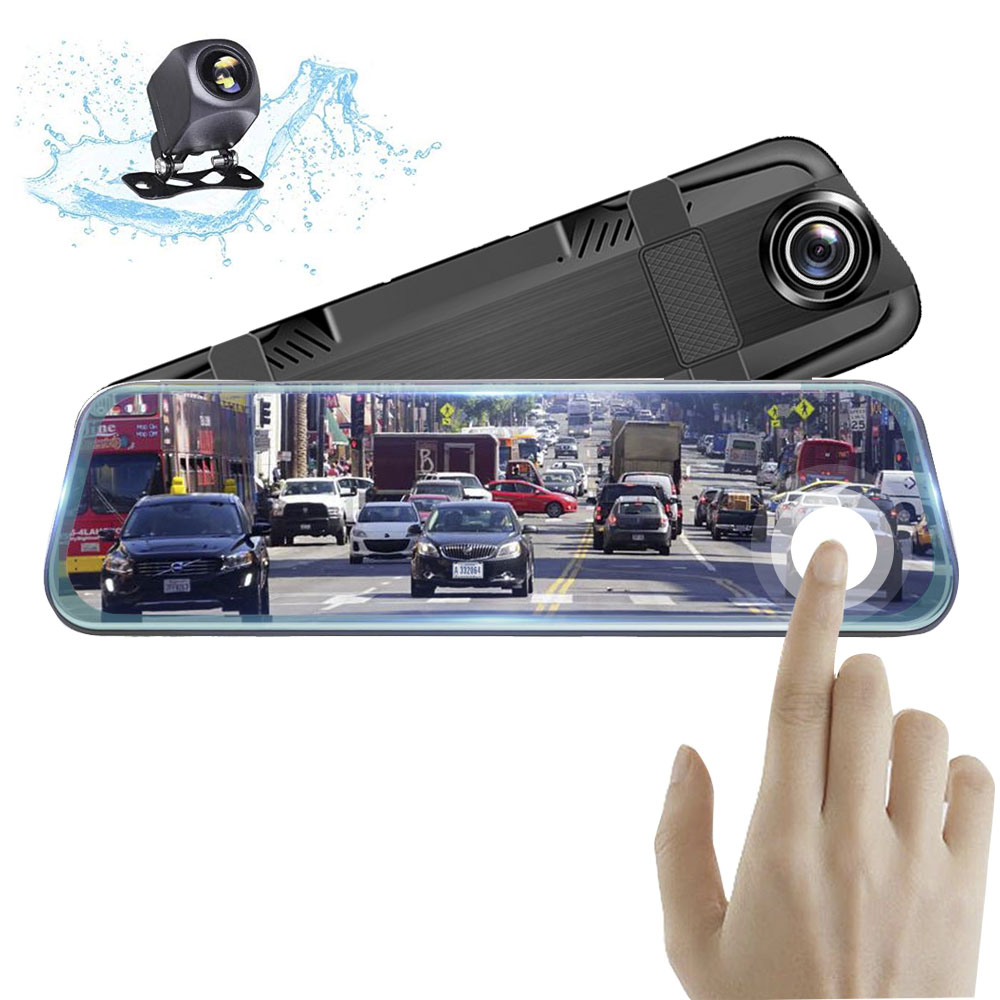 HGDO Stream Mirror Video-Recorder Rearview-Camera Dash-Cam 10inch Auto-Registrar Touch