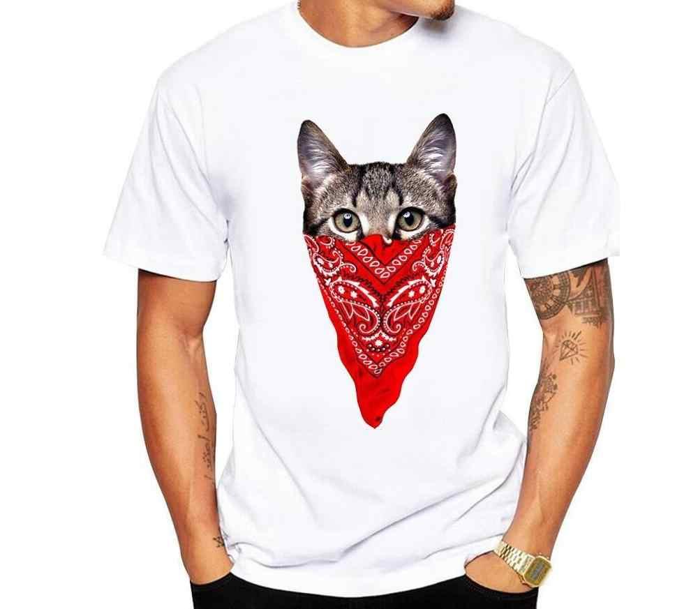 新到着ギャング猫デザインメンズカスタマイズ Tシャツかわいい動物プリント男性カジュアル O ネッククール人気の面白い tシャツ