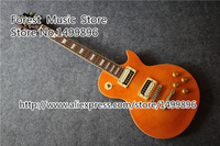 Wholesale Retail China Musical Instrument Slash LP Guitarra Electrica In Yellow Tiger Flame Finish Left Handed