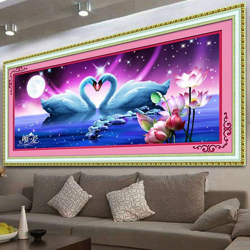 5D DIY Diamond Embroidery Painting Cross Stitch Animal Crystal round diamond Beautiful Swan Lake Bedroom decorative