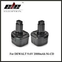 Eleoption 2x 9 6V Battery For DEWALT DE9036 DE9061 DE9062 DW9061 DW9062 9 6 VOLT Drill