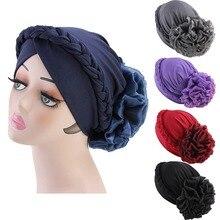 Retro Women Braid India caps Muslim Cancer Flower Chemo Beanie Hair Loss Turban Wrap wedding party Cap 5pcs/pack