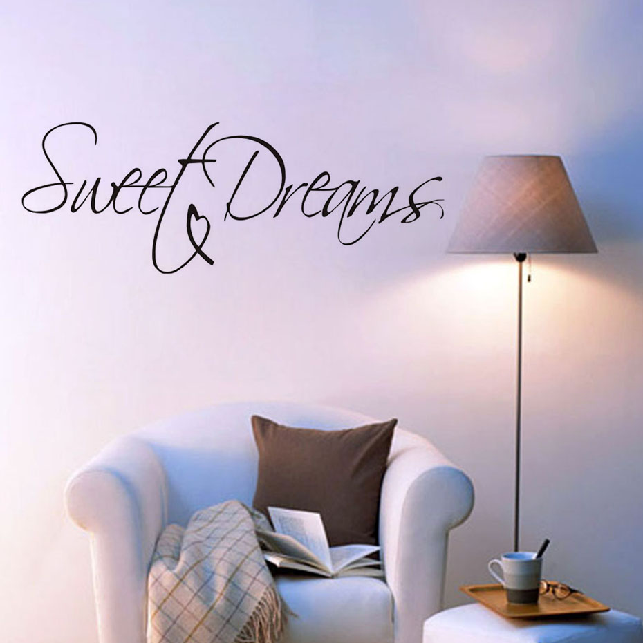 Sweet Dreams Life Quotes Wall Stickers For Kids Room Bedroom Wall Decor Black Vinyl Wallpaper Decals Home Decoration Accessories