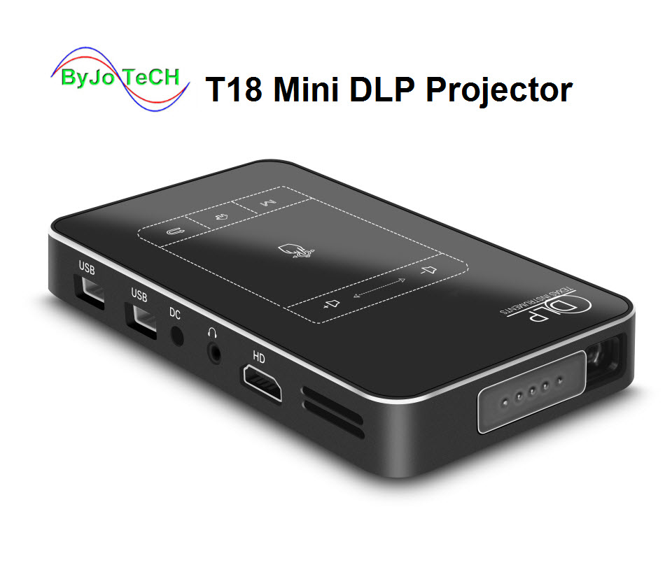 ByJoTeCH T18 DLP мини проектор Android 4,4 WI FI 1G RAM 32G ROM проектор Touch Pad Батарея 5000 мАч Bluetooth
