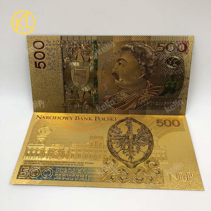 1 шт. unised 1994 Edition Poland Currency designed цветной 24 K позолоченный банкнот 500 PLN для банка подарочные сувениры - Цвет: 500PLN2017colored