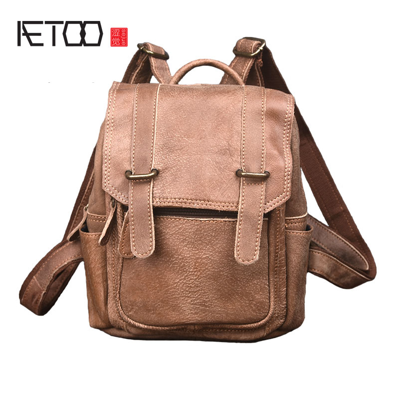 AETOO Men's backpack leather shoulder bag men new of the first layer of cowhide men's leisure  travel leather aetoo leather men bag wild european and american first layer of leather men s shoulder bag trend backpack