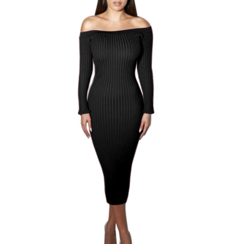 Elegant Off Shoulder Slash Neck Club Women Long Sleeve Dress Slim Bodycon Knitted Party Night Strapless Dresses Casual