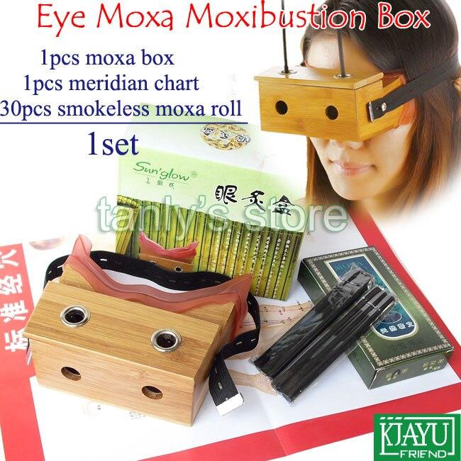 Good quality! eyes moxa box moxibustion massager bamboo material (30pcs smokeless moxa roll+1pcs meridian chart) value set good quality 1pcs bronze moxa box with beauty bag 1pack 108pcs moxa roll 1pack dia12mm 10pcs smokeless moxa roll