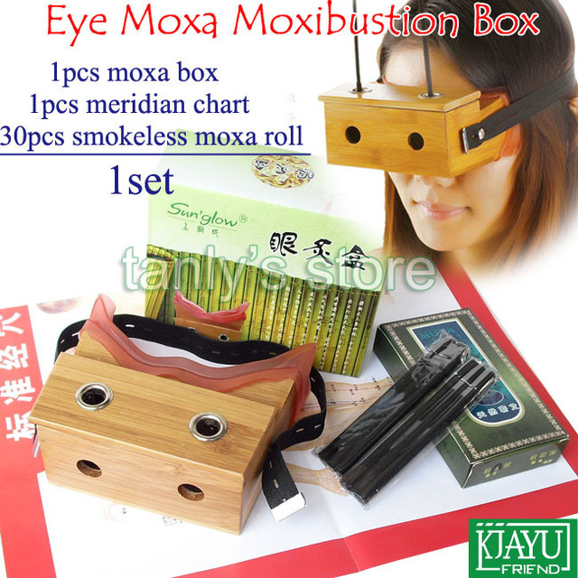 Good quality! eyes moxa box moxibustion massager bamboo material (30pcs smokeless moxa roll+1pcs meridian chart)