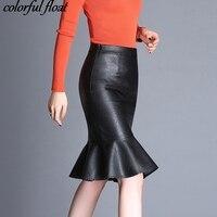 Fishtail PU spódnica spódnice jesień zima modele wysokiej talii moda słowo skóra spódnica duży rozmiar liści lotosu fringe