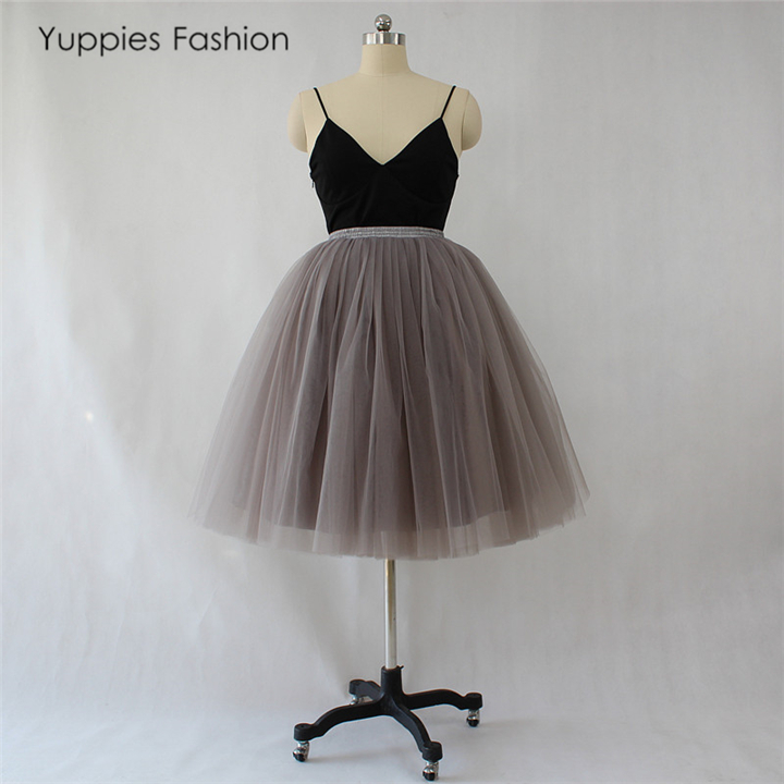 521a5c782f 7 Layers Midi Tulle Skirt for Girls Fashion Tutu Skirts Women Ball Gown  Party Petticoat Lolita ...