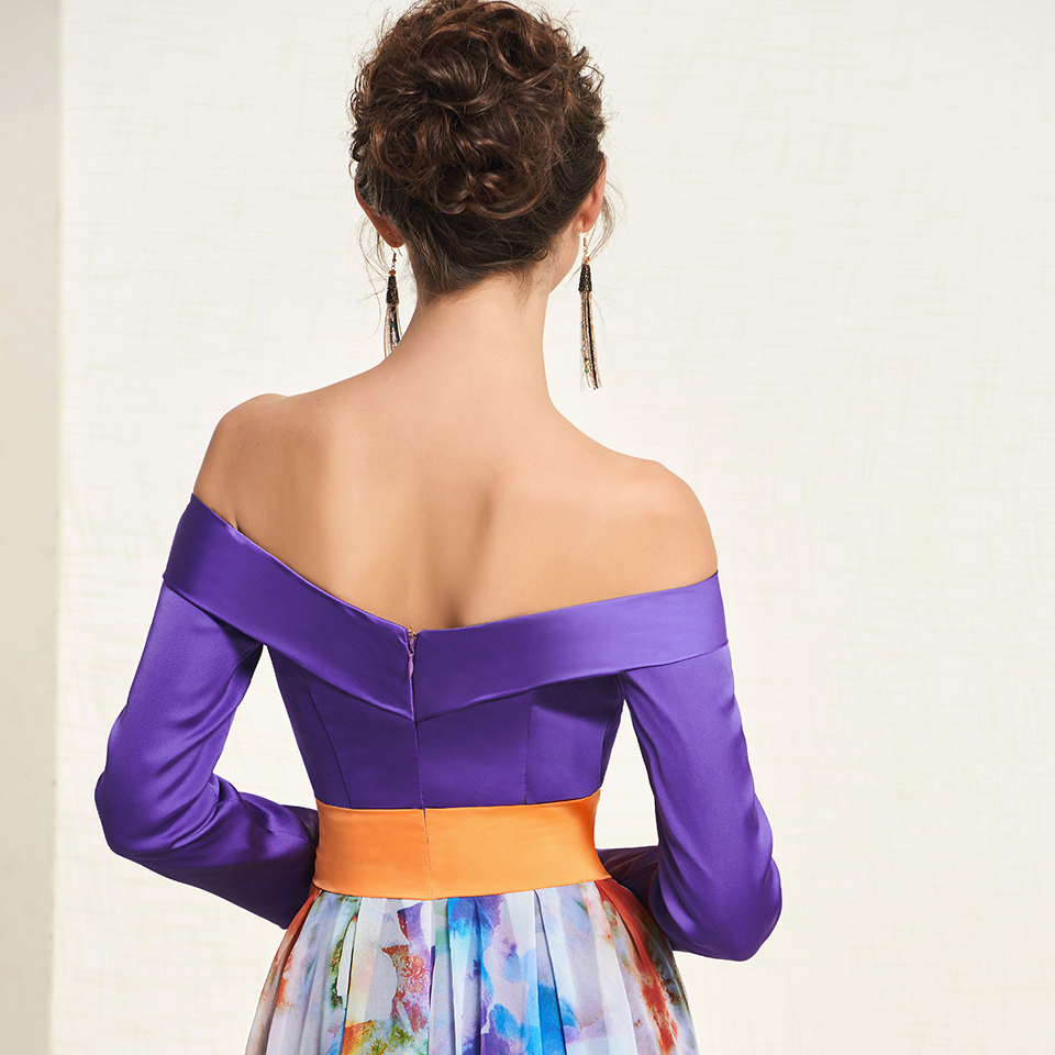 Dressv элегантное Индиго длинное платье для выпускного вечера с открытыми плечами простое ТРАПЕЦИЕВИДНОЕ ПЛАТЬЕ С принтом вечернее платье пл... - 4