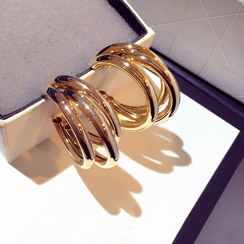 AENSOA Fashion Round Hoop Earrings For Women Vintage Gold Color Wedding Party Statement Geometric Earrings Jewelry Brinco Gift