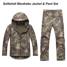 Мужские наборы Камуфляж Mardrake TAD Softshell устанавливает Куртка и штаны водонепроницаемый дышащий ветрозащитный хорошего качества Highlander Тифон
