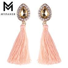 MYDANER 6 Colors Luxury Shining Rhinestone Dangle Earring Fashion Long Tassel Pendant Earrings for Women Bridal