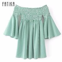 FATIKA 2017 Women Fashion Green Striped Empire Half Sleeve Dress Slash Neck Mini Casual Summer Dress