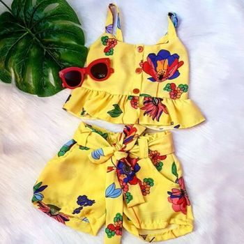 2PCS Summer Cute Toddler Kid Baby Girl Clothes Off Shoulder Flower Top Short Pants Outfit 2019 Soft Comfortable Sets