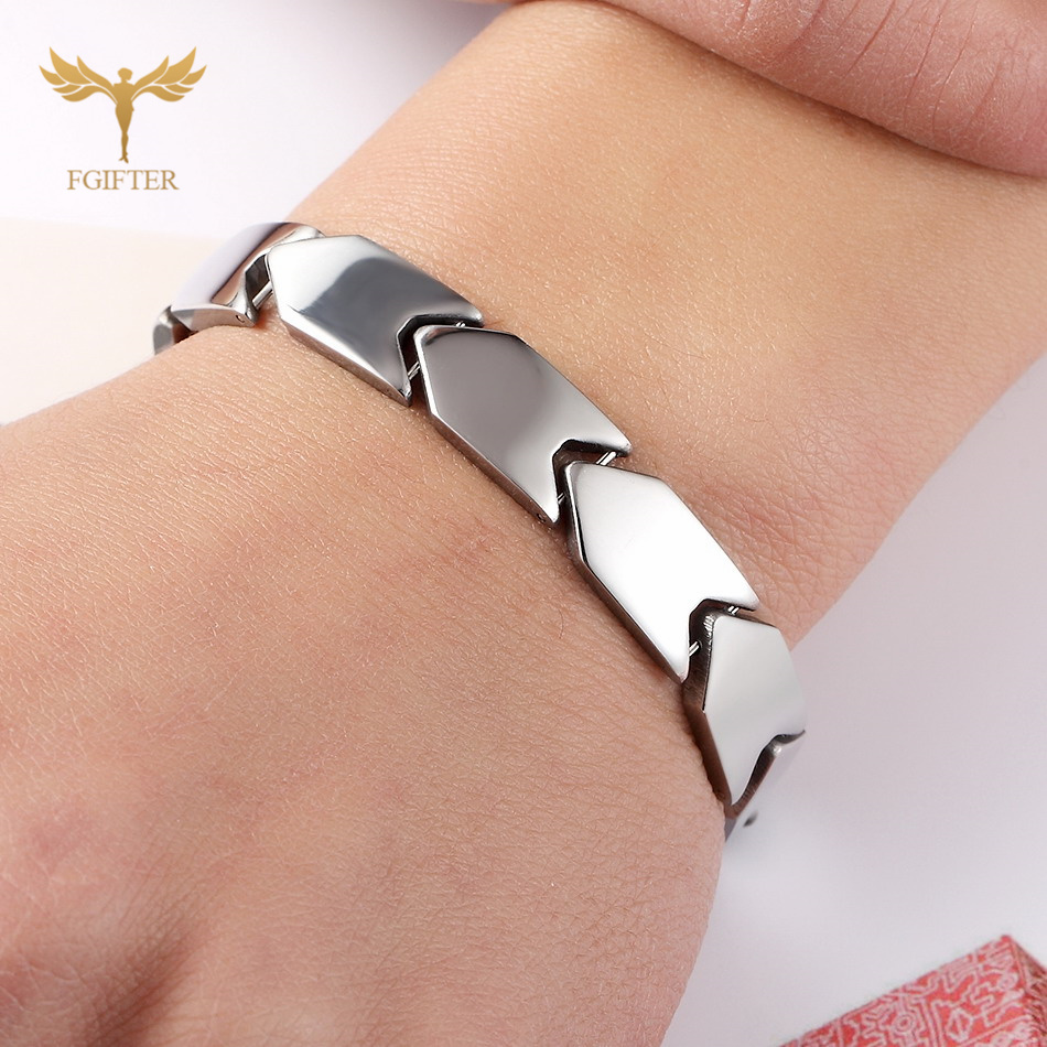 Fgifter Silver Color Stand Bracelet Men Fish Scales Stainless Steel Chain Magnetic Steel Bracelets Bangles Jewelry
